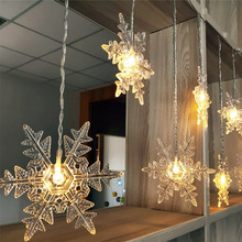 1M10LED Snowflake Curtain Lamp Remote Control Flash Ice Bar Bedroom Background Decorative Battery Fairy