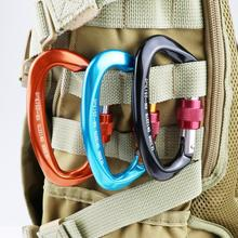 Rock Climbing Carabiner Clip Locking And Heavy Duty 25KN Hook D-Shaped Outdoor Hiking  Accessories