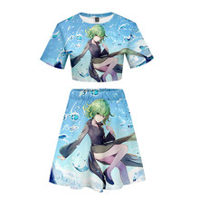 LUCKYFRIDAY Summer One Punch Man Cosplay 3D Print Summer Two Pieces sets Women Fashion Clothes 2020 Short Sleeve Tops + Skir(China)