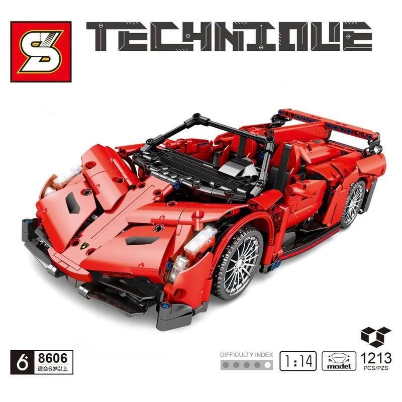 Técnica super esportes carro lamborghining blocos de construção moc simulação modelo venenoed tijolos crianças brinquedos namorado presente adulto 8606