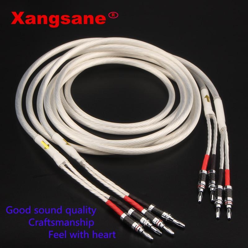 Um par xangsane alta fidelidade prata-chapeado alto-falante cabo hi-end 4n ofc alto-falante fio para sistemas hi-fi y plug banana plug cabo de alto-falante