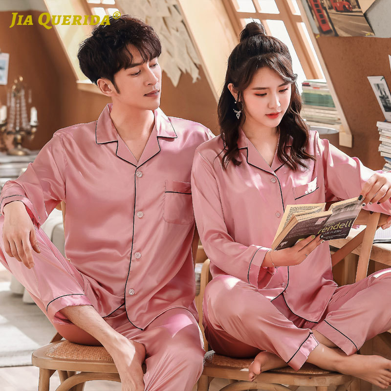 Imitated Silk New Pink Men And Women Couple Turn Down Collar Homesuit Homeclothes Fashion Style Long Sleeve Long Pants Sleepwear