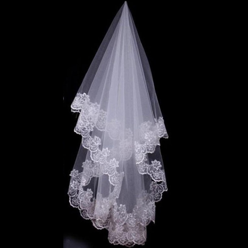 Beautiful Short Wedding Veils With Lace Applique White Ivory One Layer Lace Bridal Veils Wedding Accessories