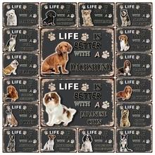 [Mike86] Домашние животные собака боксёр такса, чихуахуа Мальтийский металлический знак оловянный плакат домашний Декор Бар настенная живопись 20*30 см размер DD-21