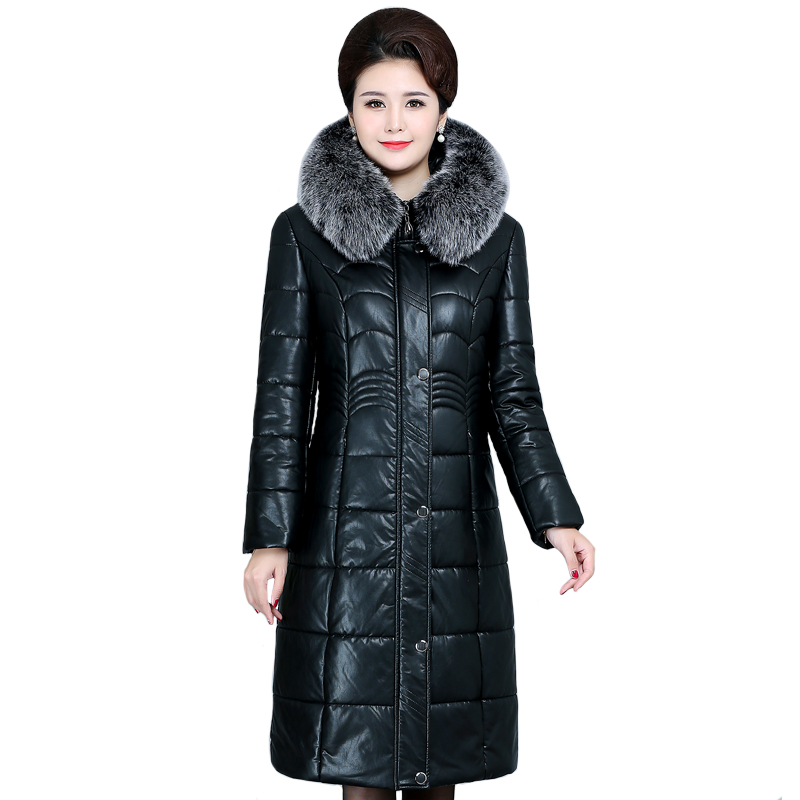 Women Winter Leather Jacket Hooded Thick Warm Windproof Jacket Long Coat Plus Size 6XL  Winter PU Fur Parkas Female Overcoat