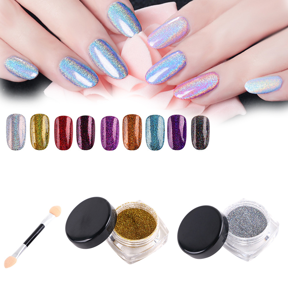 PINPAI 2g Nail Glitter Powder Laser Sequins For Art Holographic Colorful Shiny Manicure  nail art