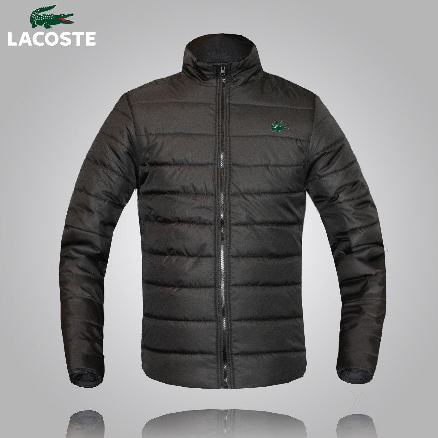 Lacoste-Мужская зимняя теплая одежда большого размера, мужская хлопковая деловая Повседневная теплая хлопковая куртка с длинным рукавом и воротником-стойкой на молнии