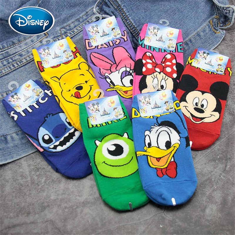 Disney Baby Socks Cute Cartoon Printing Anime Cotton Socks Spring&autumn Shallow Mouth 3-10 Years Old Boys And Girls Socks
