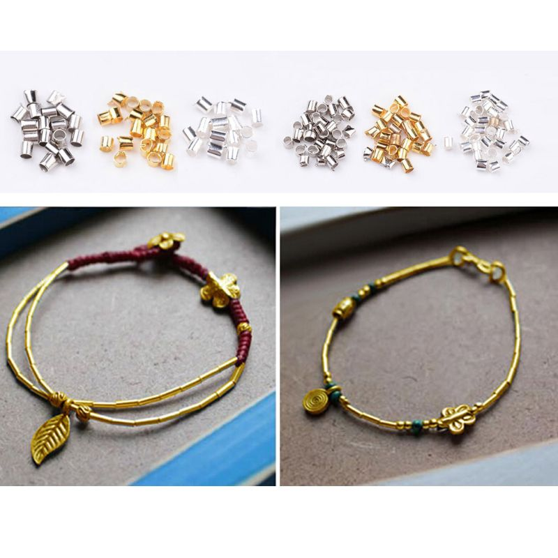 2340 pièces 3 couleur Tube à sertir perles Tube couverture Bracelet cordon extrémité bouchon fabrication de bijoux
