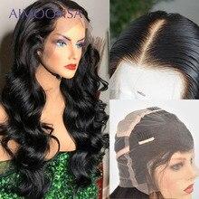 HD przezroczyste pełne peruki typu Lace z ludzkich włosów z dzieckiem włosy peruka body wave przejrzyste koronki peruki dla kobiet czarny brazylijski Remy włosy