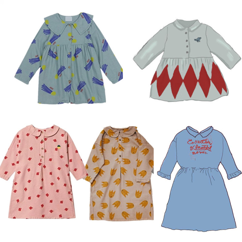 Toddler Girl Dresses Baby Girls Clothes 2021 New Autumn Kids Fashion Brand A-line Dress Children Pattern Princess Thanksgiving 1