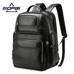 Image 1 - BOPAI جلد طبيعي على ظهره متعددة الوظائف USB تهمة مكافحة سرقة حقيبة لابتوب 15.6 بوصة رجل محمول على ظهره حقيبة السفر