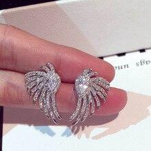 New fashion Korean  earrings flashing luxury zircon crystal jewelry angel wings small