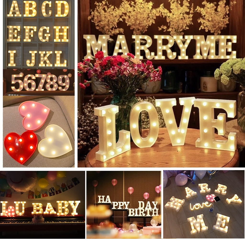Christmas Wedding Romantic 3D 26 Letter Alphabet & Number Party Lights LED Light Indoor Wall Hanging Night Lamp Luces De Navidad