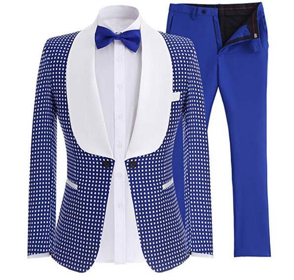 Custom Made Two-Piece One Button Blazer Wool Royal Blue Business Gentlemen Suit Jacket Wedding Groomsmen Prom Party Gala Tuxedo