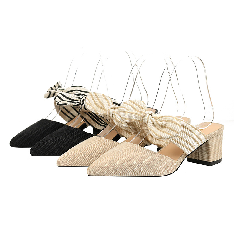 Summer New Ladies Corduroy Bows Pointed Sandals Women's High-heeled Shoes Wholesale Zapatos De Mujer