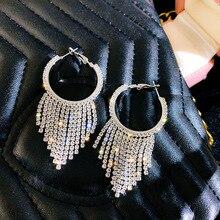 FYUAN Shine Geometric Rhinestone Hoop Earrings for Women Long Tassel Crystal Earrings Jewelry Party Gifts a suit of cute rhinestone geometric earrings for women