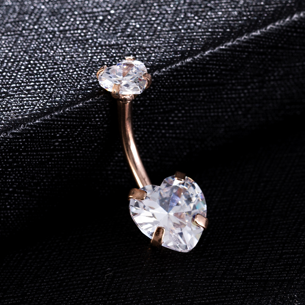 Surgical steel Navel Belly Button Ring Barbell Zircon Heart Piercing Sexy Belly Bars Belly Button Rings Belly Piercing