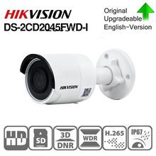 のhikvisionオリジナルDS 2CD2045FWD I poeカメラビデオ監視4MP irネットワークドームカメラ30メートルir IP67 H.265 + sdカードスロット