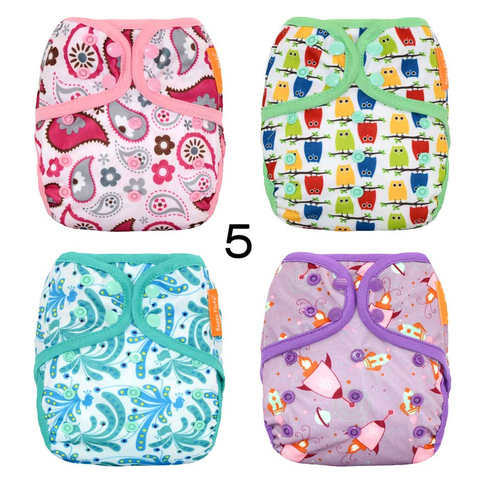4pcs/lot HappyFlute OS baby cloth diaper cover,waterproof breathable S M& L adjustable,fit 5-15kg baby