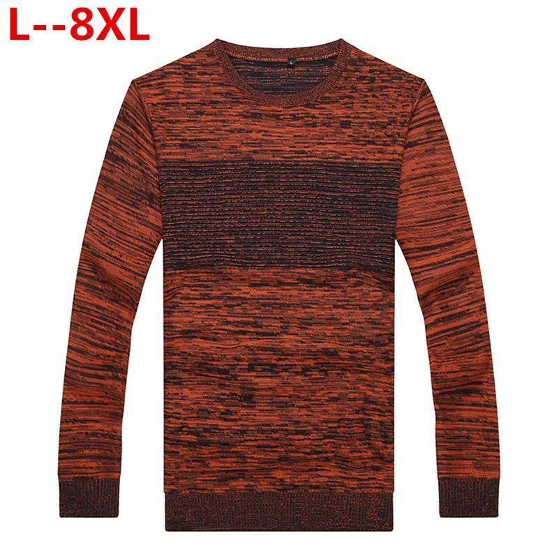 8XL 6XL 5XL 4X  New Autumn Winter Mens Pullover Sweaters Cotton Casual O Neck Sweater Jumpers Thin Male Knitwear Jumpers Top
