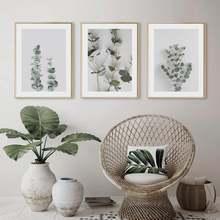 3 шт растительный Эвкалиптовый лист постер современный холст