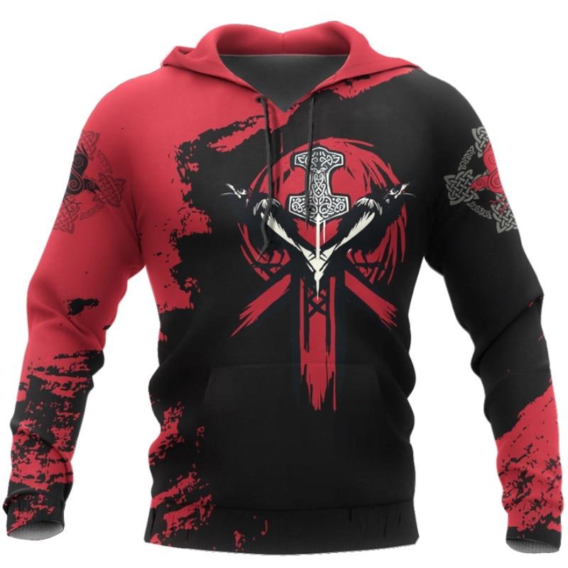 PLstar Cosmos crazy pattern warrior Viking Tattoo 3D Printed Men hoodies Harajuku Hooded Sweatshirt Autumn Fashion hoodie top-22