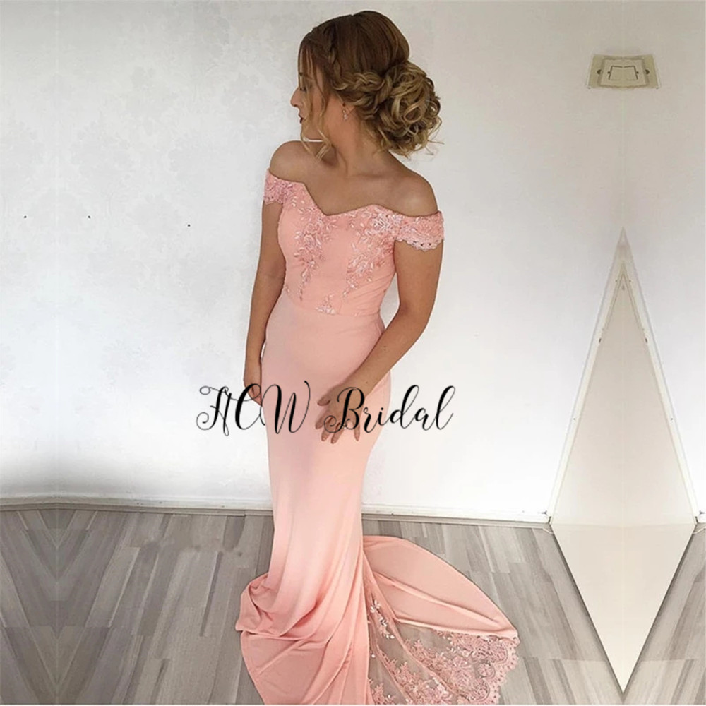 Blush Pink Mermaid   Bridesmaid     Dresses   2019 Wholesale Off The Shoulder Lace Floor Length Long Maid Of Honor   Dress   Cheap