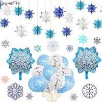 Decoración navideña de copos de nieve, globo colgante de copo de nieve, pegatina de copo de nieve, decoraciones para el hogar