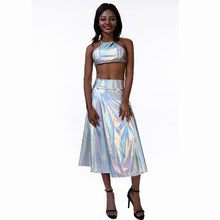 Voor Party Vrouwen Shiny Holografische Midi Rok Hoge Taille EEN-Link Laser Metallic Lange Rokken Zomer Party Club Festival outfits(China)