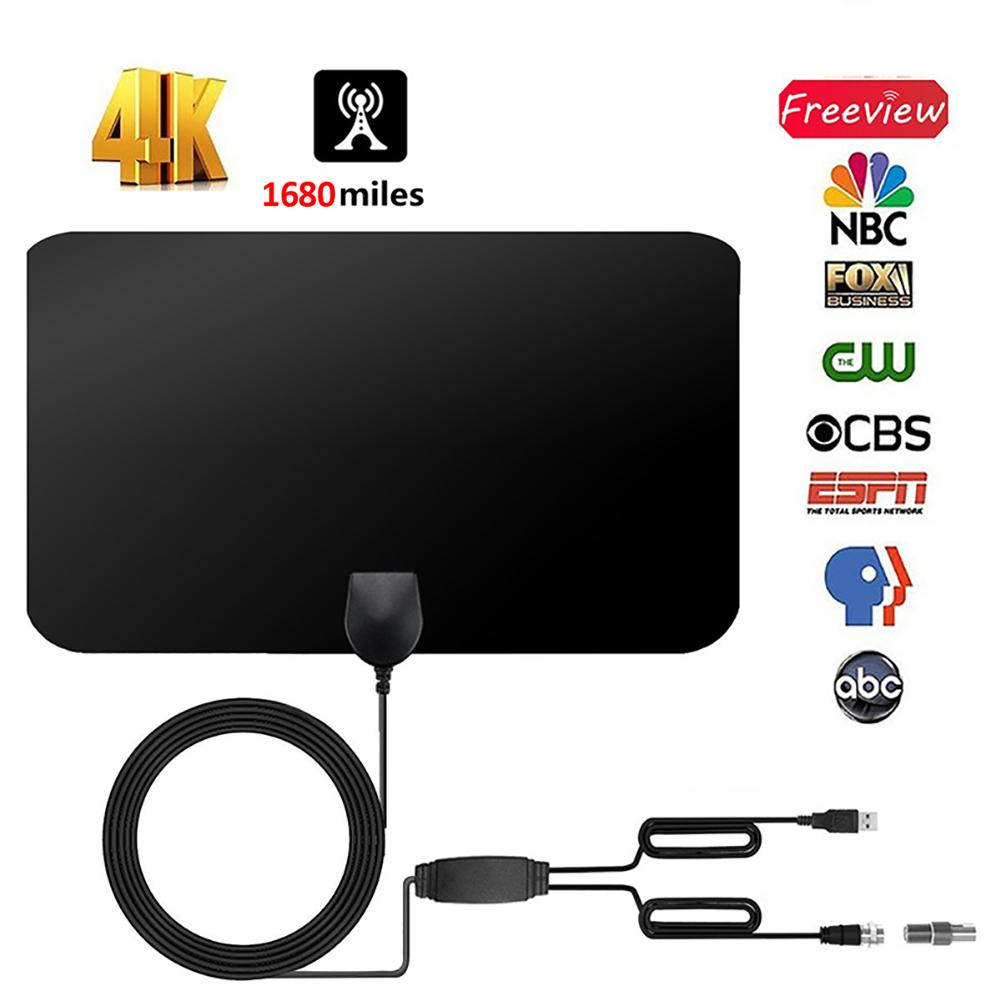 4K Digital HDTV Aerial Indoor Amplified Antenna 1680 Miles HD1080P DVB-T2 Freeview TV For Life Local Channels Broadcast