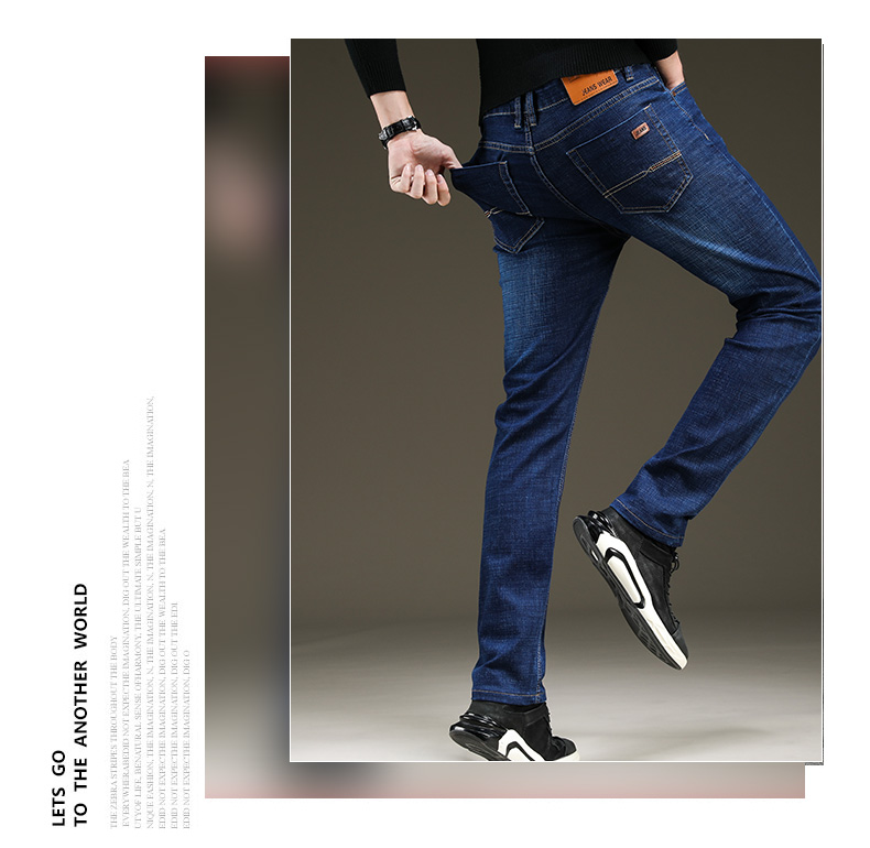 SULEE Brand 2020 New Men's Slim Elastic Jeans Fashion Business Classic Style  Jeans Denim Pants Trousers Male 5 Model