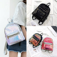 Hot Sequins Leather Rucksack Backpack Handbag Anti-theft Girls School Bags Shoulder Bag(China)