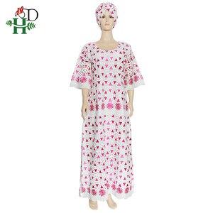Женское кружевное платье H & D, длинное рубашка Дашики розового и белого цвета с вышивкой в нигерийском стиле, для свадьбы, большие размеры