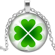 2019 Handmade Flower Type Four-leaf Clover Necklace Glass Convex Round 25mm Pendant Necklace Fashion Sweater Chain Jewelry 2019 new creative necklace green four leaf clover gift glass convex personality pendant necklace fashion jewelry