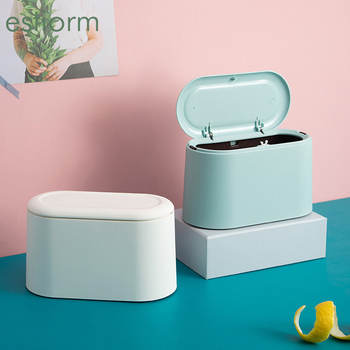 цена на Mini Countertop Trash Can Waste Bin Bathroom Kitchen Office Desktop Trash can Table trash bin Small Rubbish Garbage Can With Lid