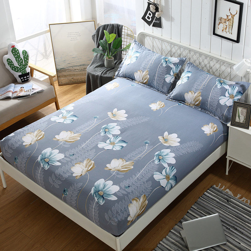 Flower Pattern Mattress Cover Polyester Dustproof Bed Cover Anti-slip Mattress Protector Elastic Fitted Sheet Cover Home Decor