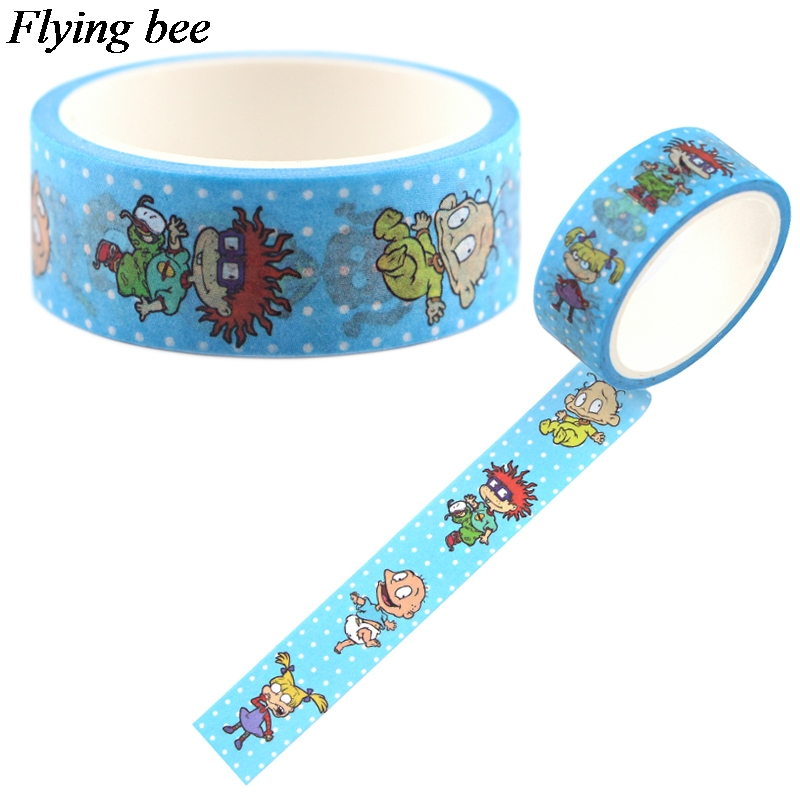 Flyingbee 15mmX5m Funny Cartoon Anime Washi Tape Paper DIY Decorative Adhesive Tape Stationery Masking Tapes Supplies X0695