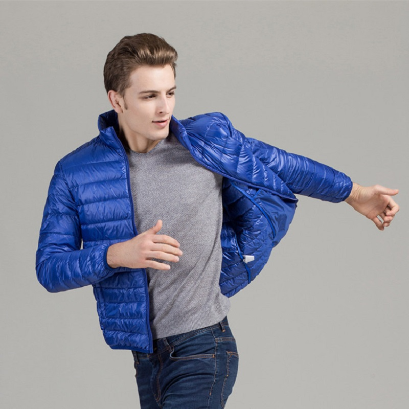 New Autumn White Duck   Down   Jacket Men Fashion Stand Collar Slim Fit Light Jacket Plus Size S-4XL Autumn   Down     Coat   Male