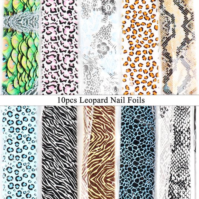 10pcs Sexy Leopard Nail Foil Set Wild Animal Skin Transfer Stickers Starry Sky Adhesive Manicure Decoration Accessory CHCQ917