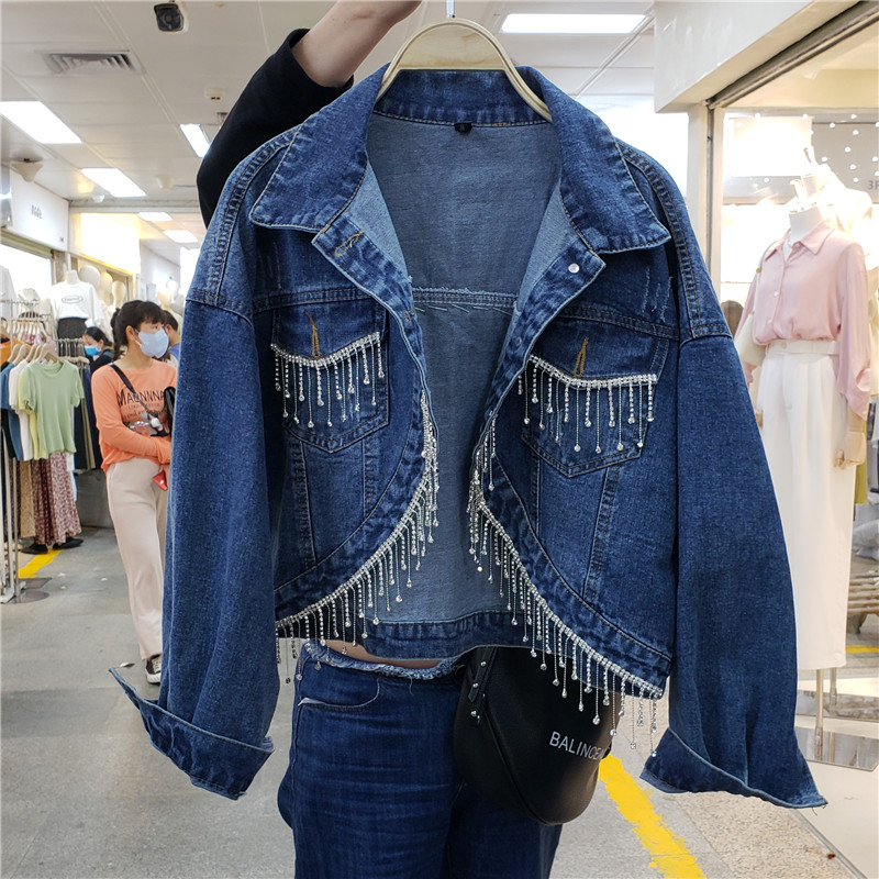 Harajuku Jean Jacket Women New Style Jeans Coat Women's Short Korean-style Loose-Fit Tassels Diamond Irregular Denim Coat Tops