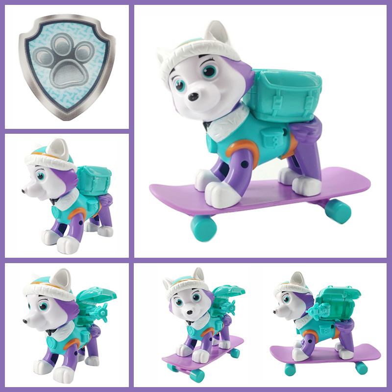 Paw Patrol Everest Dog Skateboard Puppies Snow Can Be Deformed Patrol Patrulla Canina PVC Doll Toys Action Figure Model Toys