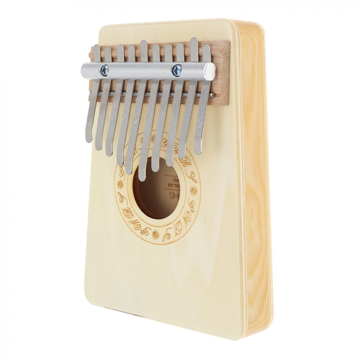 Купить с кэшбэком 10 Keys Kalimba Mbira Thumb Piano High Quality Pine Light Yellow Wood Portable Durable Instruments Pine Aluminum Bar
