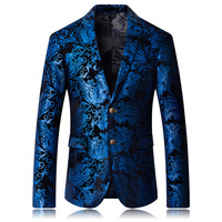 Mens fashion Dance Blazer Coats 2019 Male pattern Business affairs Wedding Stage Long sleeve Suit Jackets Slim coat M 5XL