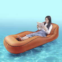 Outdoor Inflatable Furniture Sofa Beds Patio Garden Furniture Couch Backyard Beach Inflatable Lounger Air Chair Bed Portable cheap CN(Origin) One Seat Solid color 210T nylon ripstop 2325187 Minimalist Modern Inflatable beach sofa bed White black gray pink orange burgundy red lake green navy blue