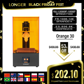 LONGER Orange 30 3D Printer High Precision SLA 3D Printer with 2K LCD Screen Parallel UV LED Lighting 405nm UV Resin Pri
