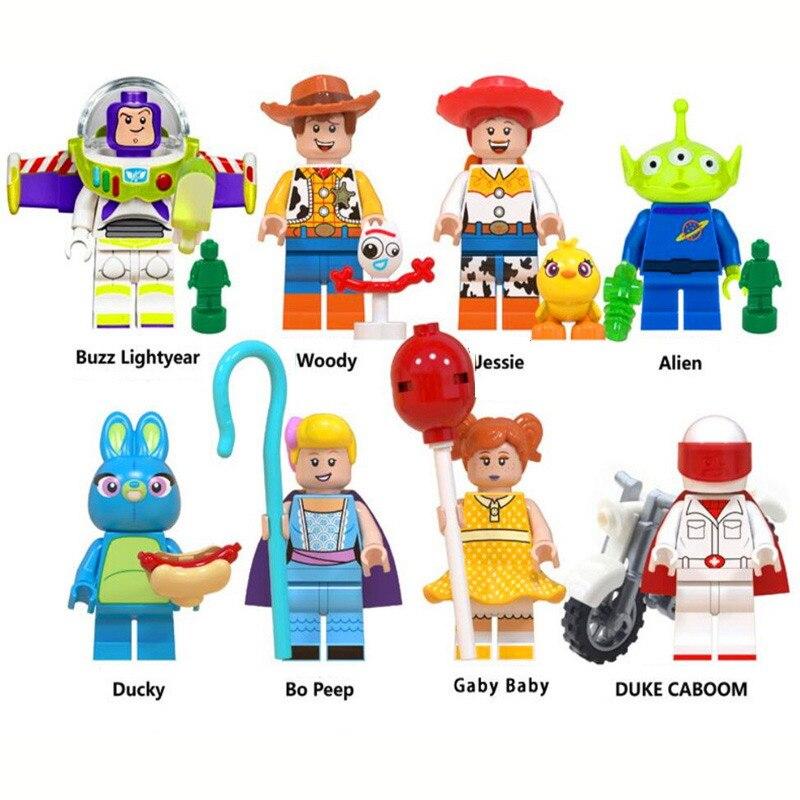 8Pcs Toy Story 4 Buzz Lightyear Woody Jessie Ducky Alien Bo Peep Model Building Blocks Enlighten Action Figure Toy For Children
