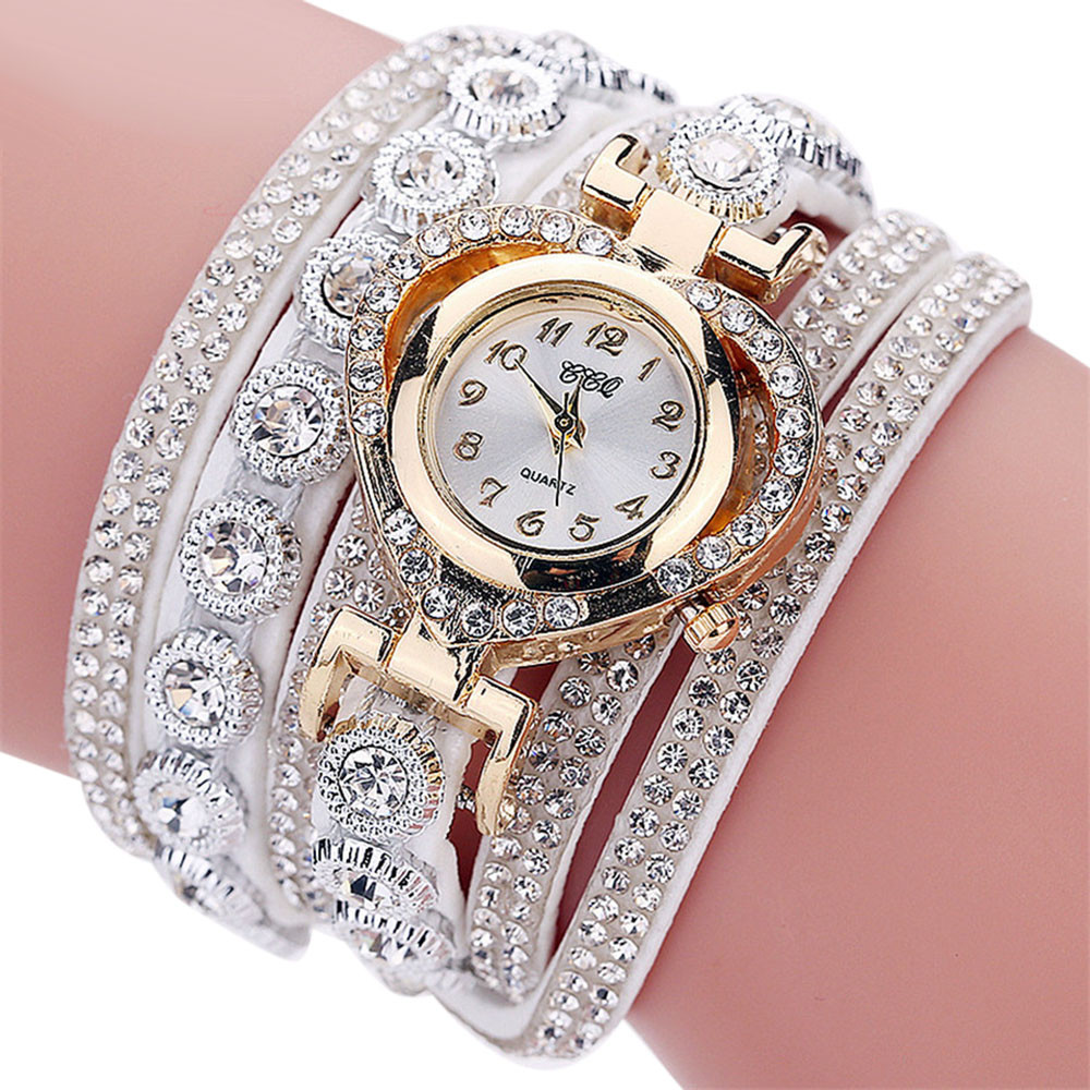 CCQ  Bracelet Watch Women Vintage Rhinestone Crystal Dial Analog Quartz Wrist Watch Relogio Feminino наручные часы женские