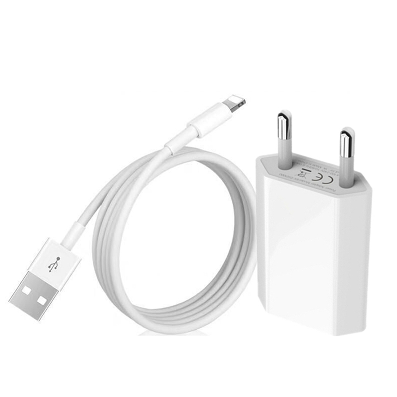 Kit 1m <font><b>USB</b></font> Cable + EU Plug <font><b>USB</b></font> Charger For iPhone 7 8 Plus X XR XS Max 5S <font><b>5</b></font> 6S <font><b>6</b></font> <font><b>USB</b></font> Data Charging Cable EU Travel Wall Charger image