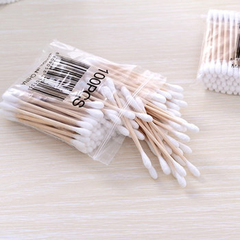 100pcs/ Pack Double Head Cotton Swabs Makeup Buds Tip for Medical Wood Sticks Nose Ears Cleaning Health Care Tools Cleaning health care professional medical double dual head stethoscope double barreled functional high quality estetoscopio